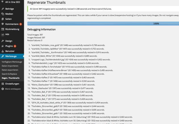 Wordpress plugin regenerate thumbnails automatische Bildbearbeitung vorschaugrafik